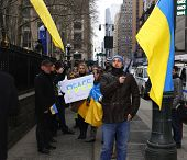 Marching uptown with Ukrainian flags