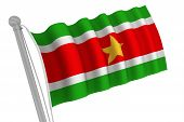 Suriname Flag On Pole