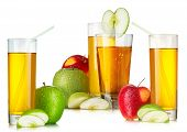 Fresh Apple Juices In Highball Glasses