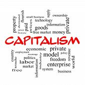 Capitalism Word Cloud Concept In Red Caps