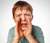 boy kids teenager calling cries shouts opened his mouth isolated