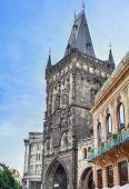 Powder Tower In Prague, Czech Republic.
