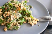 stock photo of kale  - healthy fresh green kale with scrambled eggs - JPG
