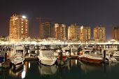 stock photo of qatar  - Porto Arabia at night - JPG