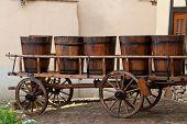 stock photo of wine-press  - Wine barrels on a cart in Eguisheim - JPG