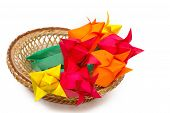 Many Colored Paper Tulips In A Basket