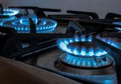 foto of inflamed  - cookers home kitchen with the typical blue flame - JPG