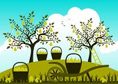 foto of hand-barrow  - vector hand barrow and baskets of pears in pear orchard - JPG