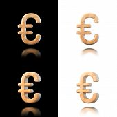 Three Dimensional Wooden Euro Symbol. Isolated On White And Black.