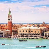 Venice Aerial View, Piazza San Marco With Campanile And Doge Palace. Italy