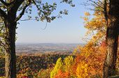 picture of knoxville tennessee  - A colorful scenic view of the Tennessee Valley looking toward Maryville and Knoxville Tennessee USA from Foothills Parkway West near Great Smoky Mountains National Park. This is a view to the North in full Autumn color.