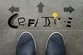 Hand Drawn Creative  Design Word On Front Of Business Man Feet As Concept