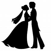 foto of white gown  - Silhouettes of bride and groom - JPG