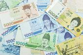 foto of won  - The Mixed South Korean Won currency isolated - JPG