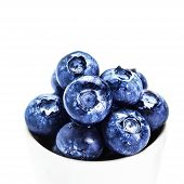 Blueberries In A Bowl Isolated On White Background Close Up. Group Of Huge Blue Berries Macro, Brigh