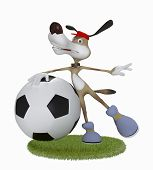 Amusing 3D Dog Football Player.