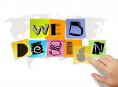 Hand Touch Drawing Web Design On Sticky Note And World Map Background As Concept