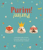 Purim party invitation with hipster Haman Ears