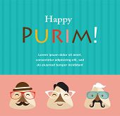 foto of purim  - Purim party invitation with hipster Haman Ears - JPG