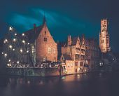 View of a decorated quay in Bruges, Belgium