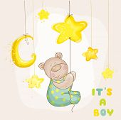 Baby Bear with Moon and Stars - Baby Shower or Arrival Card - in vector