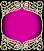 Background Frame With Gold And Precious Stones
