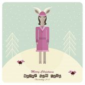 2015 happy new year. Card with sheep in flat design. Christmas vector illustration