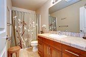 Bathroom Interior With Large Mirror