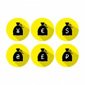 Money bag icon set with currency symbol flat design vector