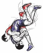 Greco-roman Wrestling. An Hand Drawn Vector Illustration.