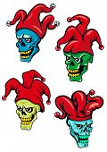 foto of clown face  - Cartoon clown or joker skull with hat - JPG