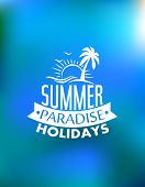 stock photo of bird paradise  - Summer paradise poster poster design with a sun waves palms birds and text Summer Paradise Holidays - JPG