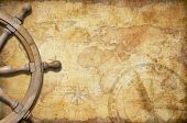 picture of treasure map  - aged treasure map with steering wheel - JPG