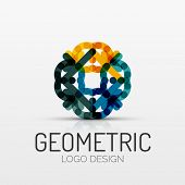abstract geometric shape icon, company logo design, business symbol concept, minimal line style