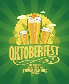 Oktoberfest design with beer and hope on a retro style green rays background.