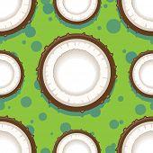 Coconut seamless pattern in modern flat style