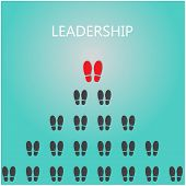 picture of work boots  - Shoe prints with leadership concept - JPG