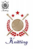 pic of iron star  - Hand knit or knitting retro emblem with yarn ball - JPG