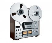 Analog Stereo Open Reel Tape Deck Recorder Vintage Closeup Isolated