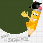Back to school background with cheerful pencil in graduation cap