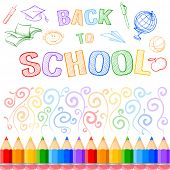 Back to school background with multicolored pencils and sketch drawn elements