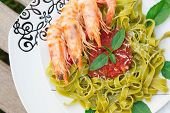 Spinach Pasta With Shrimps And Tomato Sauce