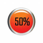 Internet Button. 50 Percent Discount Icon On White Background.