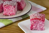 Pink Lamingtons - Selective Focus Horizontal