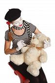 image of clown rose  - Happy mime comedian isolated on white background - JPG