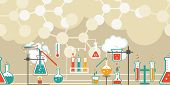 pic of reaction  - Chemistry infographic in a seamless horizontal pattern with a series of Erlenmeyer  conical flasks and beakers with various chemical solutions and reactions in a long line on atomic structure diagrams - JPG