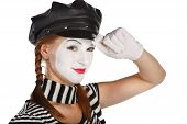picture of clown rose  - Portrait of a mime comedian isolated over white background - JPG