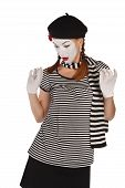 pic of clown rose  - Portrait of a comedian dressed up as a mime isolated over white background - JPG
