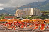 Mediterranean Beach And Construction Of Modern Seaview Apartments, Budva, Montenegro