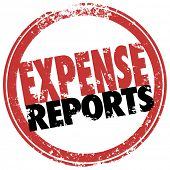 Expense Report words in red stamp to illustrate a reimbursement payment for costs incurred in busine